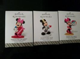 3 pcs Hallmark Disney 12 Months of Fun Keepsake Ornament Minnie Mickey M... - $29.21