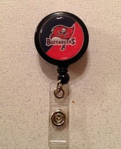 Nfl Tampa Bay Buccaneers Badge Reel Id Holder black red alligator clip h... - $6.95