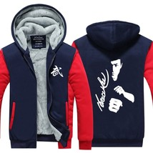 New Winter Trend Men Clothing Jacket Bruce Lee Kung Fu Thicken Fleece Hoodies Zi - $59.16