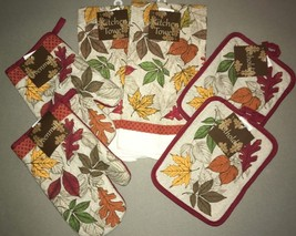 Dish towels Pot holders Oven Mitts Fall Leafs Thanksgiving Holiday set o... - $33.54