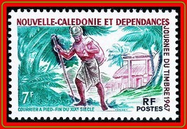 NEW CALEDONIA 1967 STAMP DAY MNH COSTUMES, PALM TREES - $1.46
