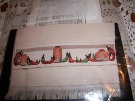 Southwest Pepper Towel Cross Stitch Chart, Floss & Directions - $7.00