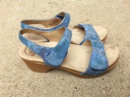Dansko Sonnet Blue Leather Ankle Strap Slingback Sandals Womens 8.5-9 EU 39 - $28.04