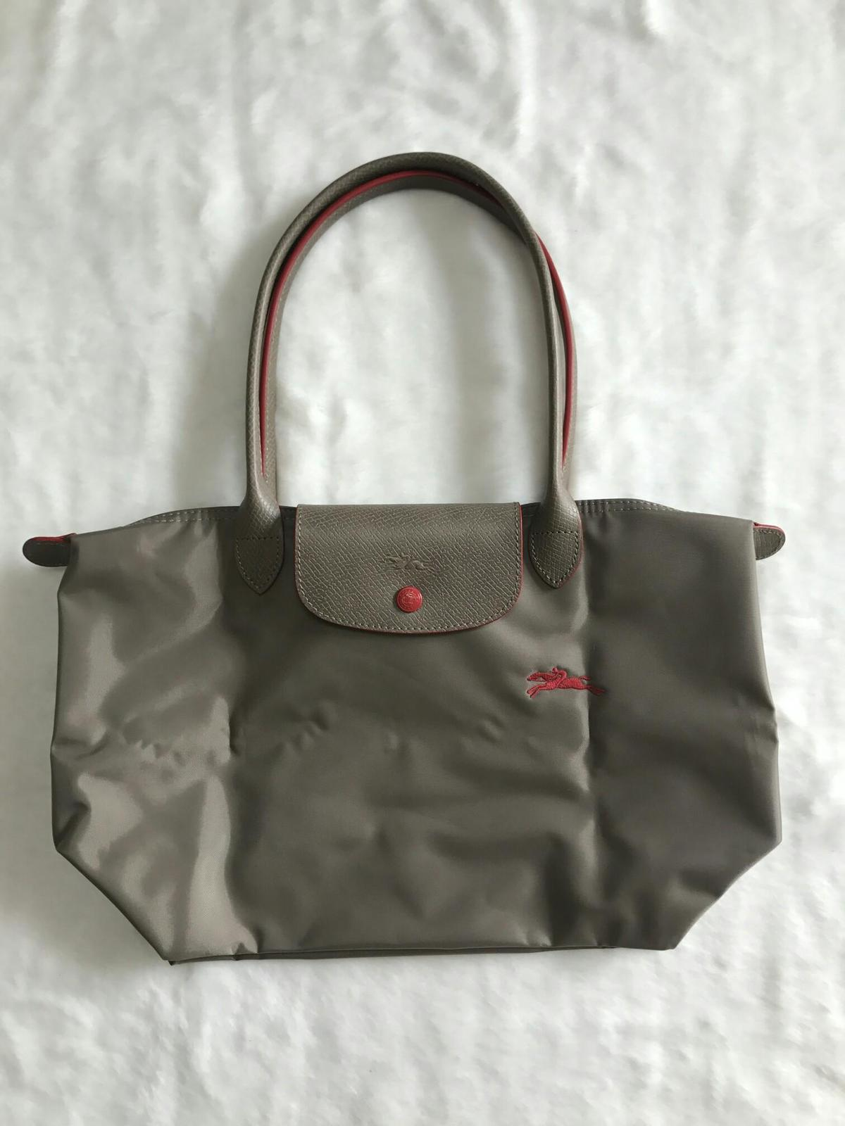 France Longchamp Le Pliage Club Collection Horse Embroidery Small Tote Brown