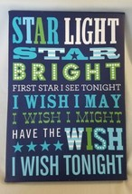 Large Star Light Blue Wall Art Canvas Wish Nursery Rhyme Kids Room Decor  - $4.84