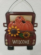 THANKSGIVING WELCOME FALL VINTAGE TRUCK PUMPKINS WELCOME HOME DECOR META... - $24.99