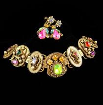 Antique Bookchain bracelet / Victorian bracelet / Edwardian Earrings / Crown rhi - $195.00
