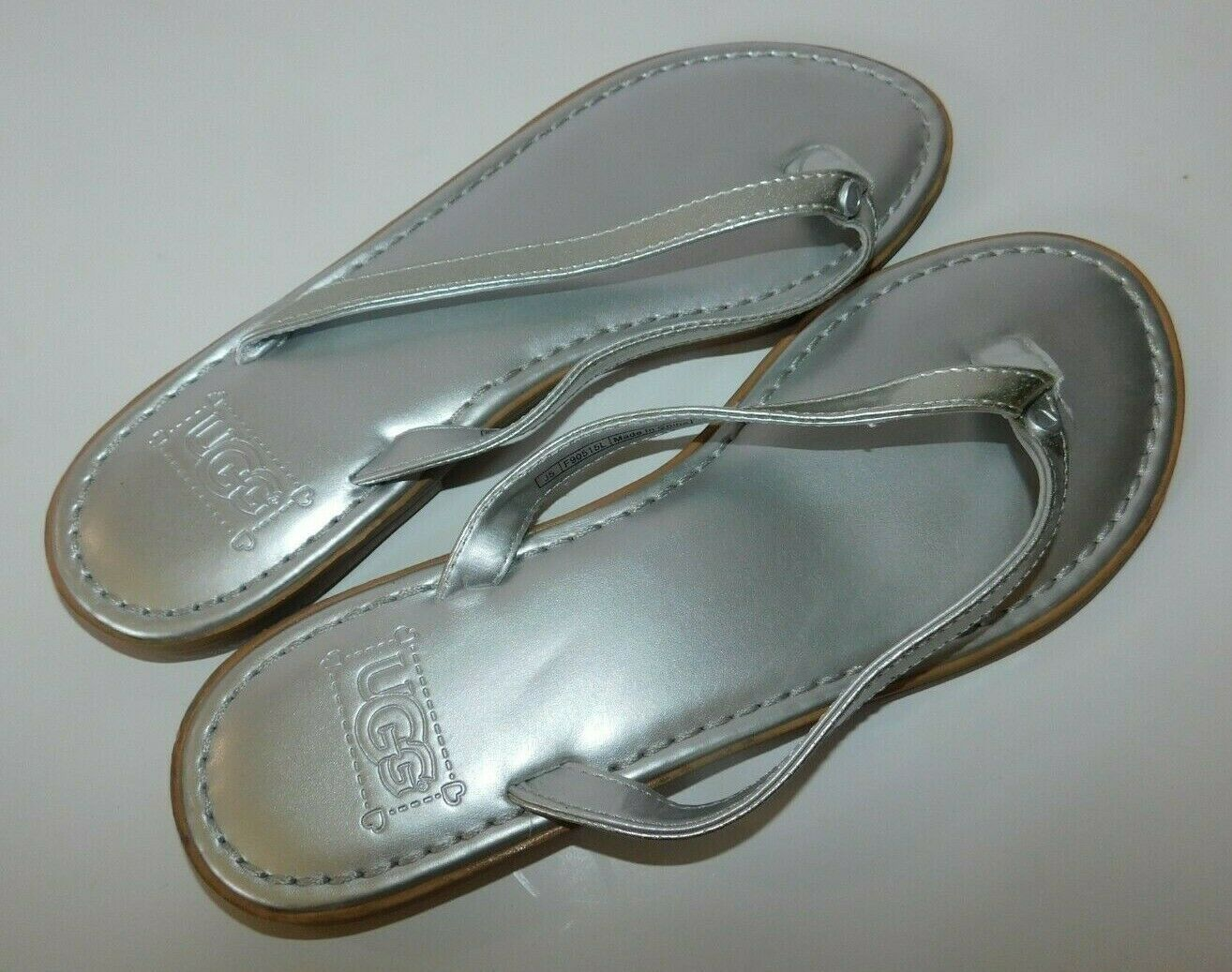 Primary image for UGG Silver Leather Sandals Size 5 Brand New