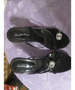 CHARLOTTE RUSSE HIGH HEELS BLACK WITH RHINESTONES SIZE 6 GREAT FOR PROM NEW - $6.99