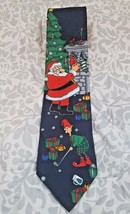 Hallmark  SpecialTIES Santa with Elf Playing Golf Christmas Mens NECKTIE NWT - $7.59