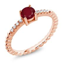0.63 Ct Round Red Ruby 18K Rose Gold Plated Silver Engagement Ring - $134.38