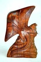 Hand Carved Mahogany Stingray Manta Ray Table Top Carving Sculpture Ocean Sea Na - $19.79