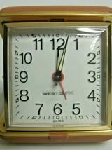 Vintage Westclock Travel Alarm Clock Brown Clamshell Hard Case Wind-Up A... - $17.97