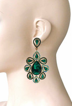 """3.75"""" Long Oversize Gree Crystals AB Rhinestone Clip On Earrings Costume Jewelry - $21.85"""