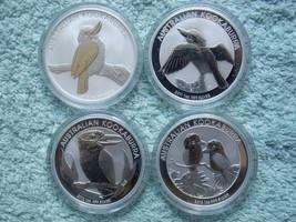 2010-2011-2012-2013 Four 1 OZ AUSTRALIAN SILVER KOOKABURRA COINS BU - $165.99