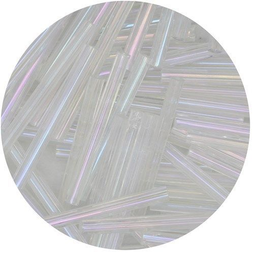 Primary image for Czech Glass Bugle Beads 25mm ( 1 inch ) Crystal Iris Lust