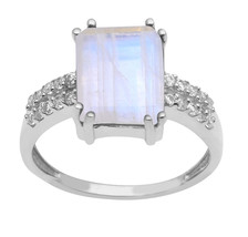 Beautiful Rainbow Moonstone Sterling Silver Ring Shine Jewelry Size-8 SH... - €18,43 EUR