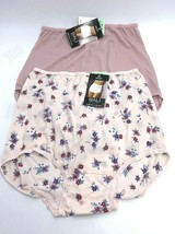 NWT Bali XL 8 Skimp Skamp Nylon Brief Panties Lot 2 Pair Pink Floral - $17.99