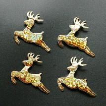 Christmas Glitter Gold Deer Decoration Hanging Reindeer Applique Ornamen... - $14.84