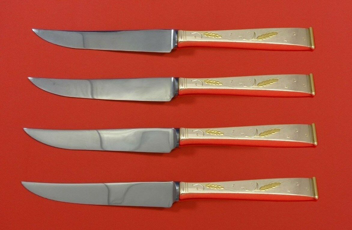 Golden Wheat by Gorham Sterling Silver Steak Knife Set 4pc HHWS Custom 8 1/2""