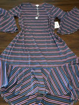 NWT Lularoe Large Maurine Flouncy Gray Pink Blue Striped Dress Kimono Sl... - $48.99