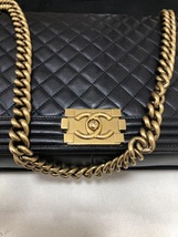 AUTH CHANEL BLACK QUILTED LAMBSKIN LARGE BOY FLAP BAG GHW image 5