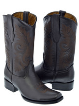 Mens Dark Brown Classic Smooth Leather Western Cowboy Boots Square Toe - $129.99