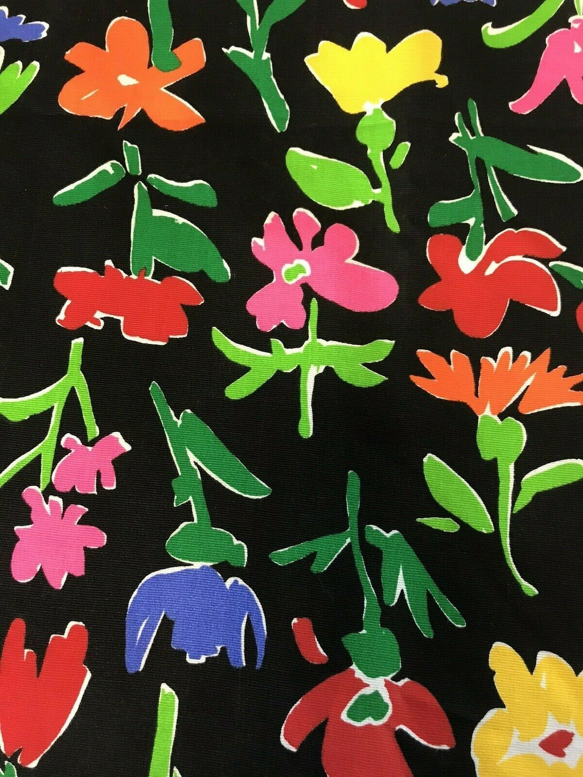 Fabric Vintage 90's Floral Bright Canvas Upholstery Flowers Black Pink Green