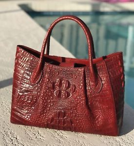 New Red Italian Leather Crocodile Embossed Tote Satchel Croc Handbag Purse