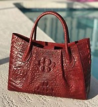 New Red Italian Leather Crocodile Embossed Tote Satchel Croc Handbag Purse - $158.35