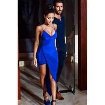 Blue Cross Strap Backless Asymmetric Women Bodycon Dress - $31.66