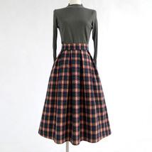 BLACK PLAID Midi Skirt Women Classy Winter Long Plaid Skirt Outfit Plus Size  image 13