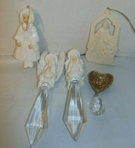 Mixed Lot of vintage angel ornaments & girl Dept 56 Barbara McDonald Crystals - $15.83