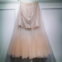 Women Blush Pink Tulle Maxi Skirt Blush Pink Sequin Tutu Mermaid Skirt Plus Size image 5