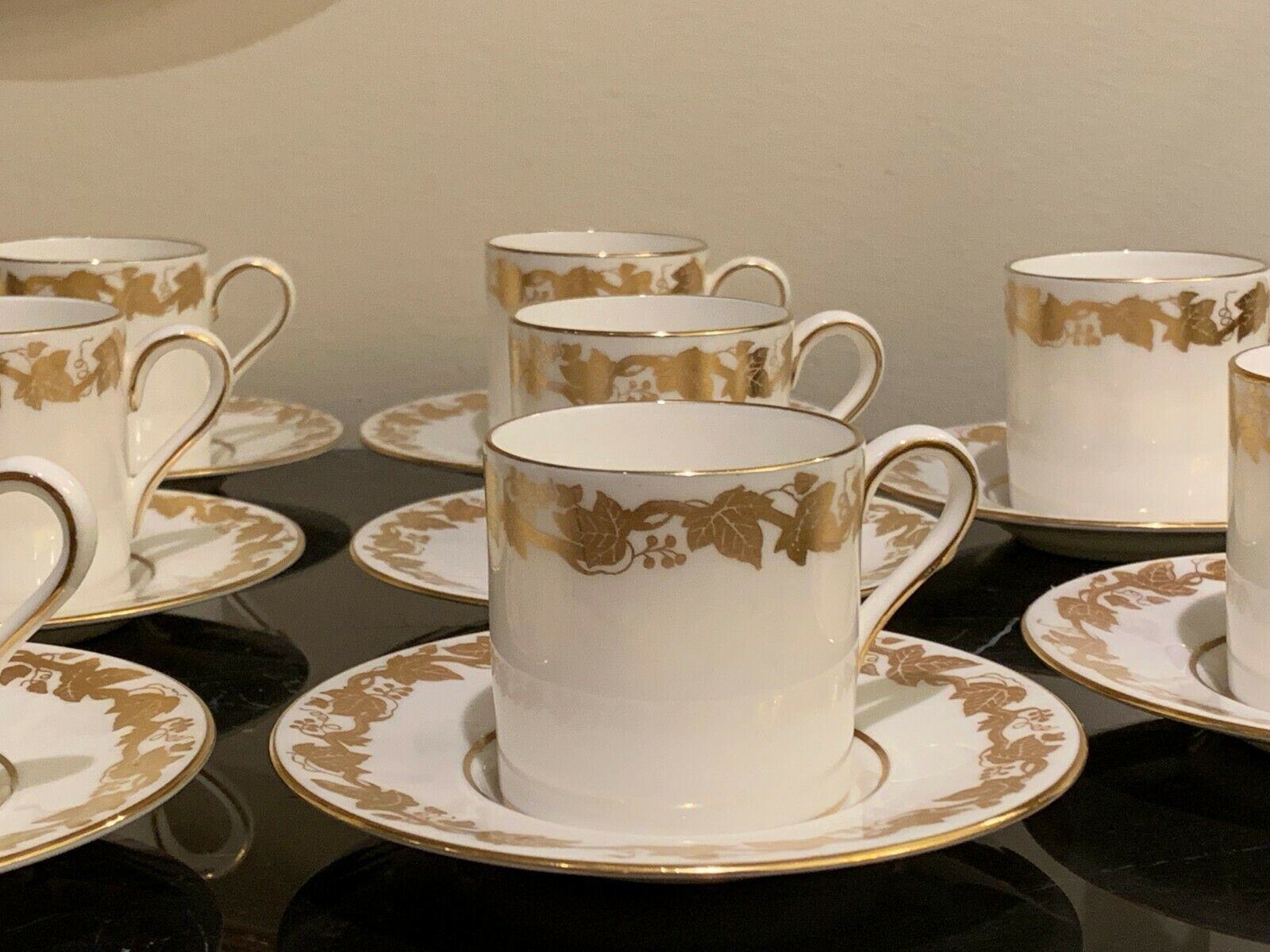 Wedgwood Whitehall White Demitasse Cups and Saucers # 4001 Set of 11