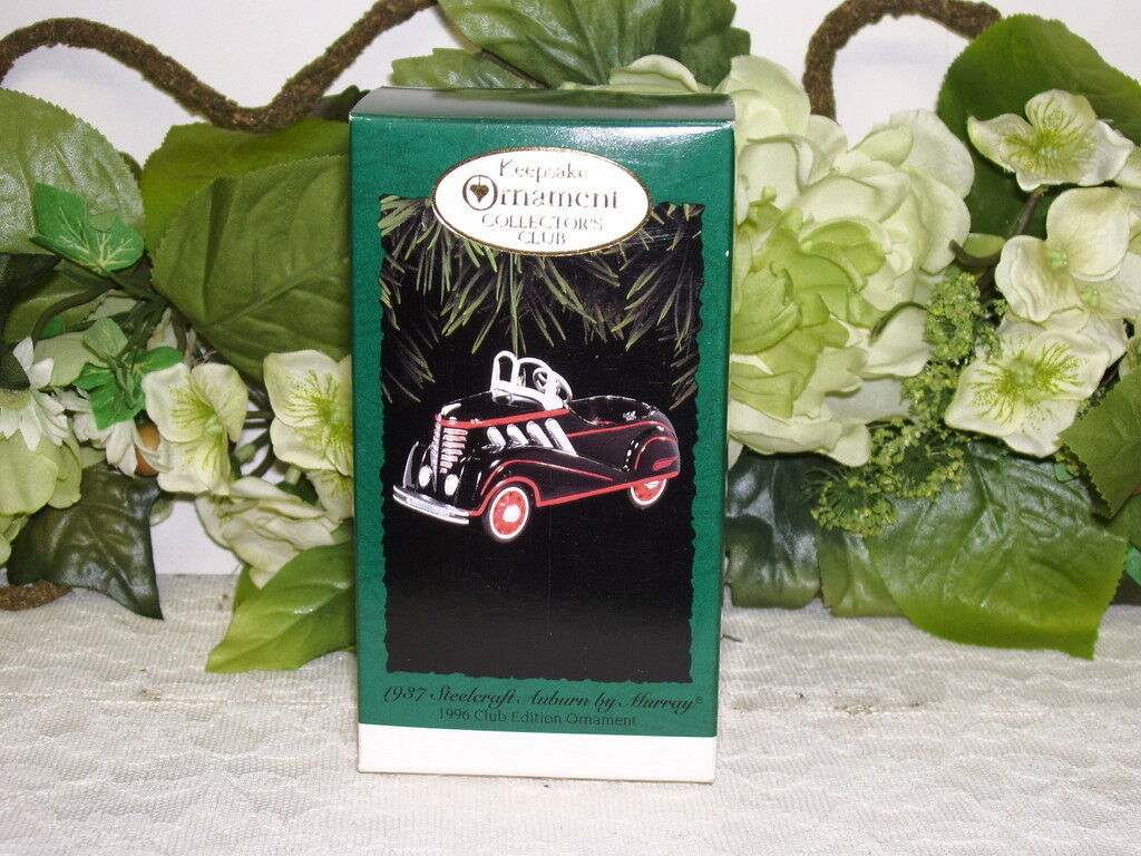 Primary image for HALLMARK ORNAMENT 1937 STEELCRAFT AUBURN KIDDIE CAR CLUB EDITION 1996 MIB