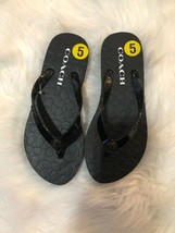 Coach Womens Abbigail Flip Flops Sandals Black Turnlock size 5 - $23.76