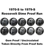 1970-s  thru 1979-S, 10 year run,  Roosevelt Dimes - Cameo/DCAM Proof - £14.28 GBP