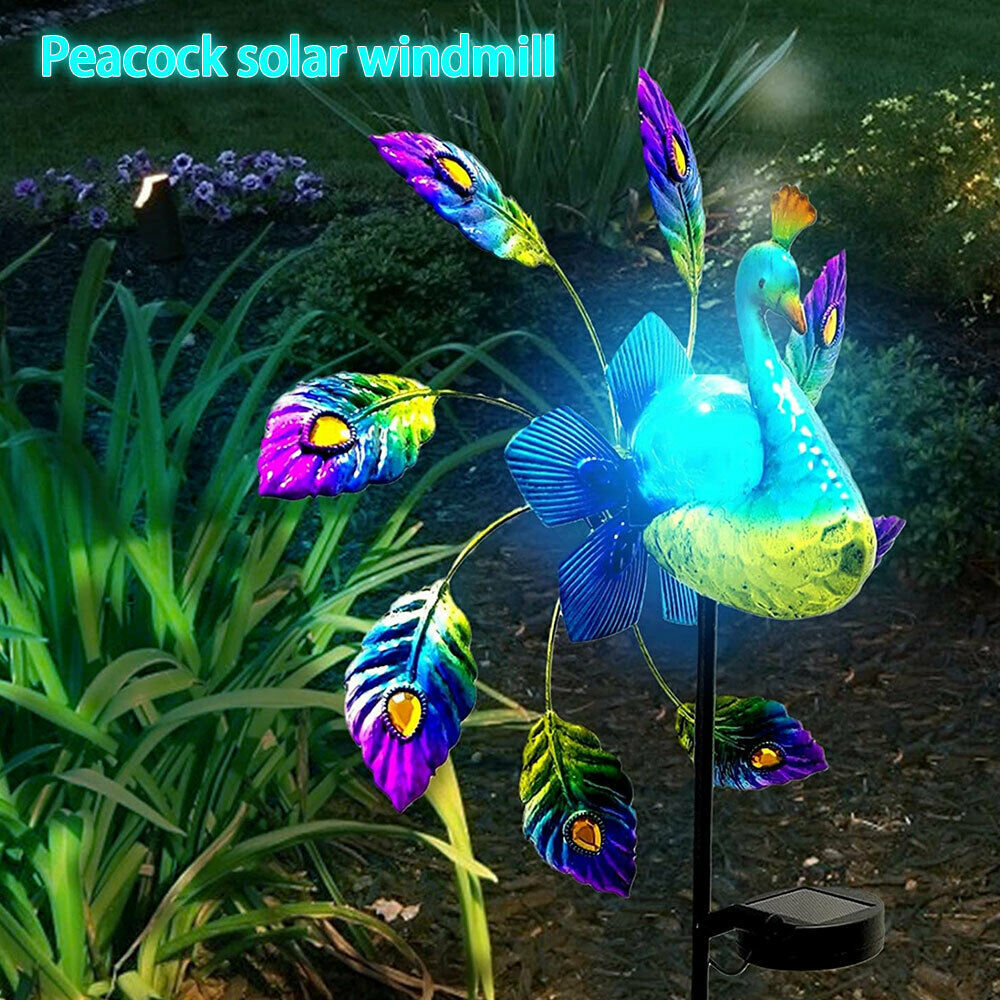 Peacock Wind Spinners Wrought Solar Light Windmill  Garden Home Decoration  UK - $44.73