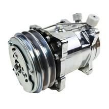 A-Team Performance Sanden 508 Style Silver Clutch V-Belt A/C Compressor, Chrome image 2