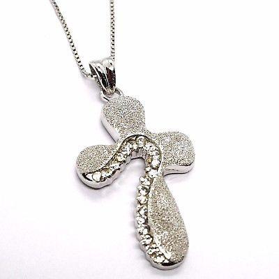 925 silver necklace, Venetian Chain, Pendant Necklace Cross Satin, Zirconia