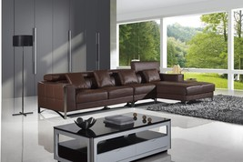 AE-L683L-BRO Modern 3pcs Brown Sectional Sofa Set Right Chaise - $2,359.93