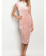 Fashion Womens Solid Print High Neck Cap Sleeve Velvet Midi Dresses Pink... - $38.00