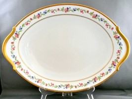 """Raynaud Country Flowers Oval Platter Limoges Porcelain White Floral Gold 16"""" - $51.23"""