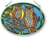 "Night Owls Sun Catcher AMIA Oval 7"" Long Glass New Hand Painted"