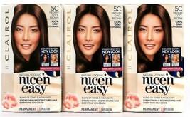 3 Boxes Clairol Nice N Easy Repair Plex 5C Medium Cool Brown Permanent Hair Dye  - $26.99