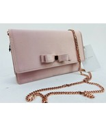 Ted Baker Crossbody Bag Pink Satin Clutch Bow Rose Gold Chain - $94.05