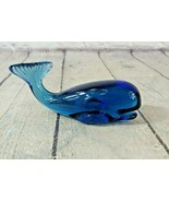 FENTON Glass Sperm Whale Figurine Blue Glass 5152TB - $74.24