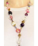 Necklace artist handmade necklace rose quartz amethyst freshwater pearls... - $69.29