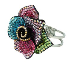 Multi-Colored Crystal Rose Cuff Style Bracelet - $18.99